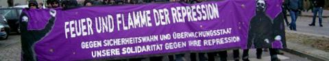 "Fronttransparent der Demonstration ""Out of control"" in Hamburg 15.12.2007"
